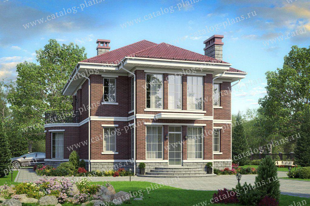 Проект двухэтажного кирпичного дома с террасой - 40-70L