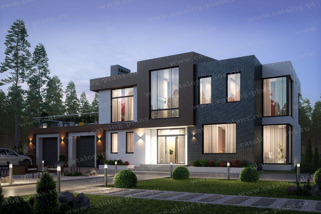 Проект двухэтажного кирпичного дома с террасой - 40-86L