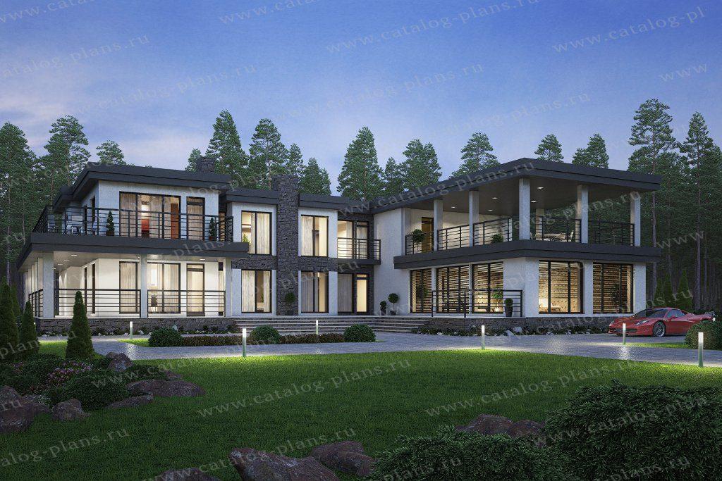 Проект двухэтажного кирпичного дома с террасой